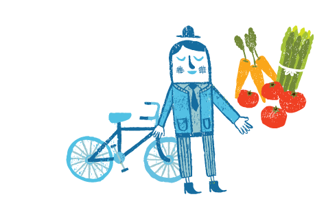 Illustration of Person With Bicycle
