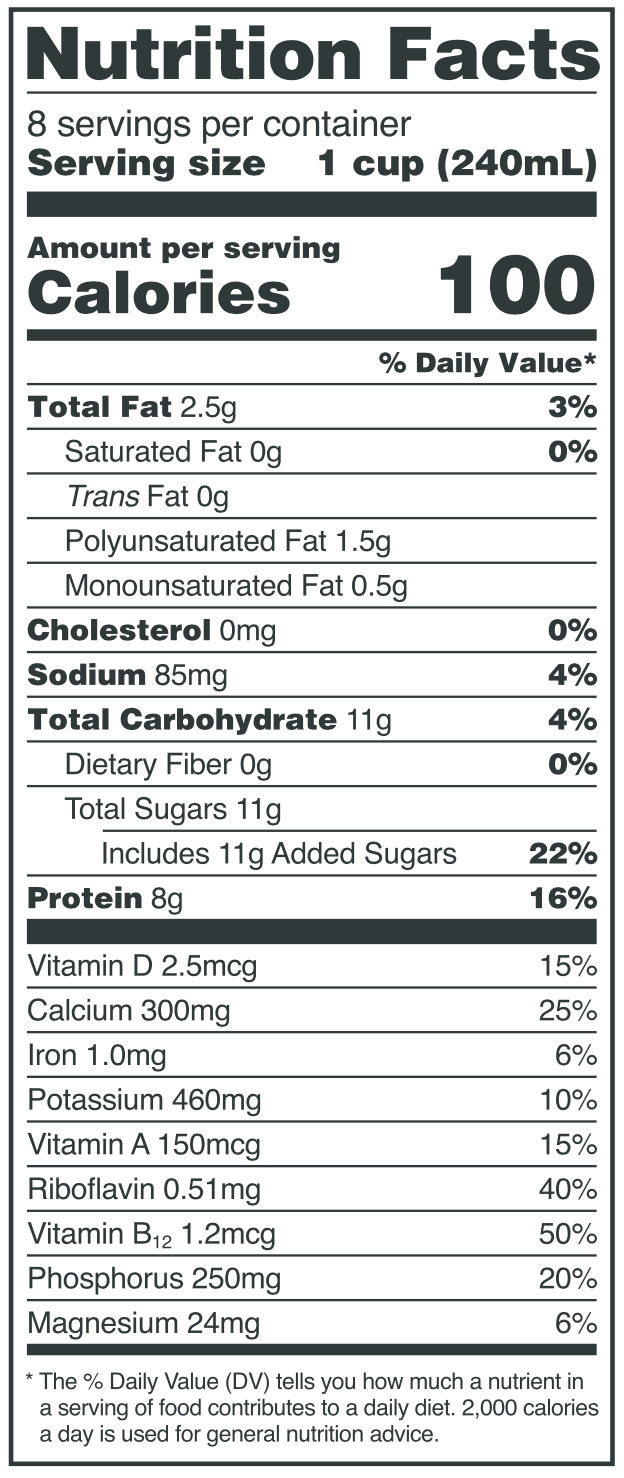 Nutrition Facts for 8th Continent® Vanilla Soy Beverage
